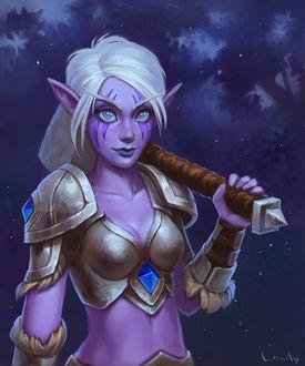 Фото Ночная эльфийка в латах и с оружием на плече / арт на игру World of Warcraft, by lowly-owly