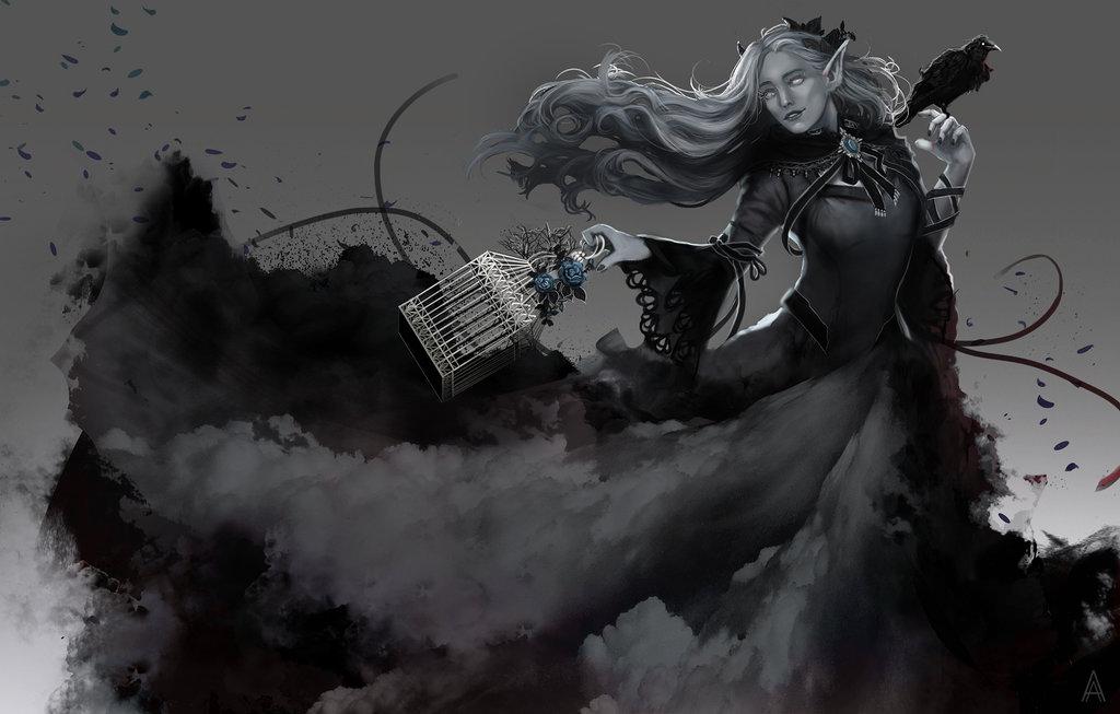 Фото Эльфийка призрак держит в одной руке клетку, а в другой ворона, by Arcan-Anzas