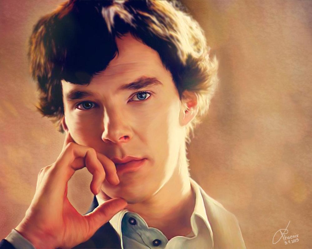 Фото Бенедикт Камбербэтч / Benedict Cumberbatch в образе Шерлока Холмса / Sherlock Holmes, сериал Sherlock / Шерлок, art by AslashPhoenix