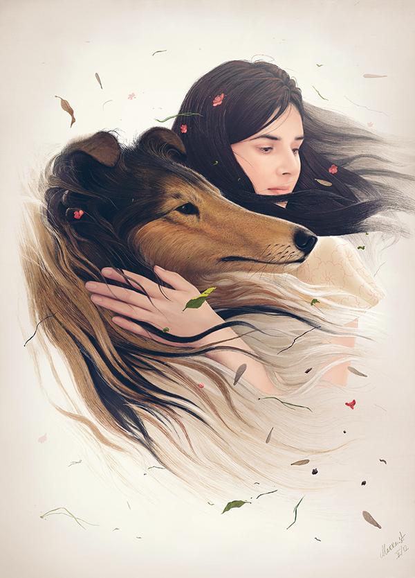Девушка с собакой рисунок