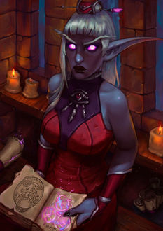 Фото Ночная эльфийка с магической книгой / арт на игру World of Warcraft, by Lucia-massucco