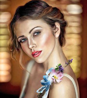 Фото Симпатичная девушка с цветами на плече