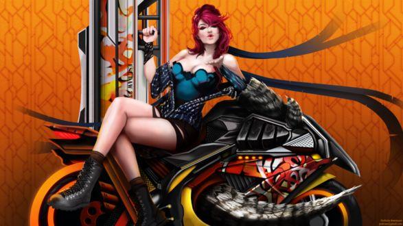 Фото Красивая девушка сидит на мотоцикле и посылает воздушный поцелуй, by Arcan-Anzas