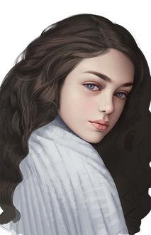 Фото Девушка с длинными волосами и голубыми глазами, by Bai yuanxin