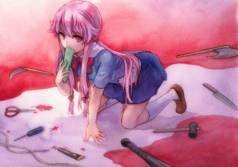 Фото Фото аниме Дневник будущего / Future Diary / Mirai Nikki, Юно Гасай / Yuno Gasai играется на полу ножами в лужах крови