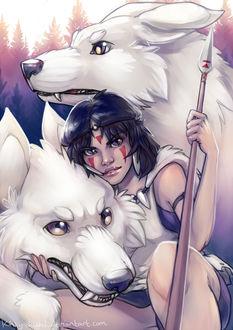 Фото Сан / San с волками из аниме Принцесса Мононокэ / Princess Mononoke, by Kinky-chichi