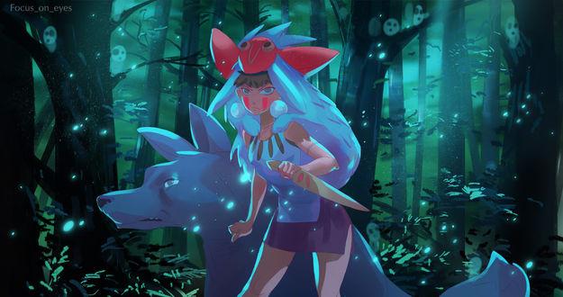 Фото Сан / San из аниме Принцесса Мононокэ / Princess Mononoke, by focusoneyes