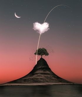 Фото Дерево на горе с облачком в виде сердечка над ним