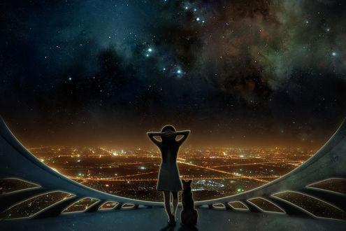 Фото Девушка с собакой стоят у окна, откуда открывается вид на ночной город, by RankaStevic