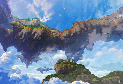 Фото Парящие в голубом небе среди облаков острова с городами и деревьями, art by Mocha