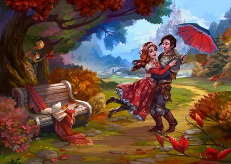 Фото Рыцарь в доспехах и девушка в красном платье кружатся в парке с зонтом на фоне замка, by LeraStyajkina