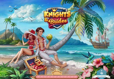 Фото Парень и девушка из игры Knights & brides / Рыцари и невесты сидят на пальме на берегу моря, by LeraStyajkina