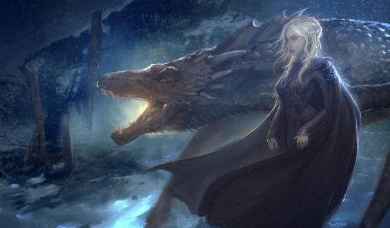 Фото Эмилия Кларк в роли Дейенерис Таргариен / Daenerys Targaryen из сериала Игра престолов / Game of Thrones, автор Meeva Art