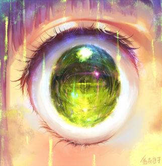 Фото Зеленый глаз анимешной девушки, в котором отражается природа, by Yuket