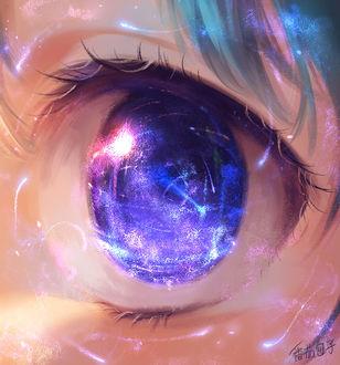Фото Синий глаз анимешной девушки, в котором отражается ночное небо и падающие звезды, by Yuket