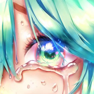 Фото Глаз Vocaloid Hatsune Miku / Вокалоида Хатсунэ Мику, которая плачет, by Yuket