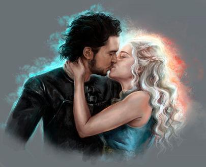 Фото Daenerys Targaryen / Дейнерис Таргариен и Jon Snow / Джон Сноу из сериала Game Of Trones / Игра Престолов, by FoxyAnt