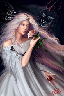 Фото Девушка с розой в руке, работа The Courtship of Persephone / ухаживание Пасефоны-богини плодородия и царства мертвых, by christwriterby christwriter