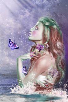 Фото Девушка с незабудками и бабочками стоит в воде, by MOHSENSEPEHRI