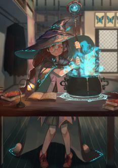 Фото Девушка в очках и шляпе сидит за столом и занимается колдовством
