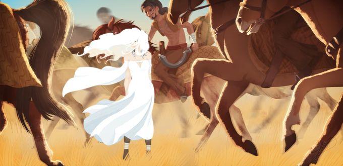 Фото Daenerys Targaryen / Дейнерис Таргариен окружена кхаласаром из сериала Game Of Trones / Игра Престолов, by LessaNamidairo