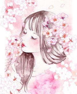 Фото Девушка наслаждается ароматом сакуры, by miya