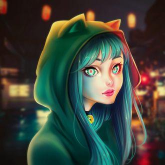 Фото Девушка в капюшоне с ушками на фоне ночного города, by Kackac11