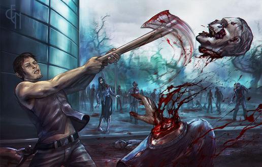 Фото Daryl Dixon / Дэрил Диксон рубит голову зомби из сериала The Walking Dead / Ходячие мертвецы, by Eneada
