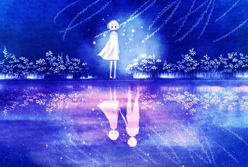 Фото Девочка стоит у воды с отражением ее и парня, by Raindrop