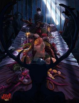 Фото Will Graham / Уилл Грэм из сериала Hannibal / Ганнибал сидит связанный за столом, by nowwheresmynut