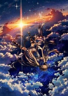Фото Девушка парит в небе, над облаками