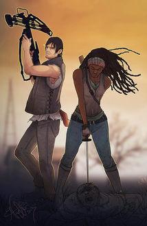 Фото Daryl Dixon / Дэрил Диксон и Michonne / Мишонн из сериала The Walking Dead / Ходячие мертвецы, by Sempaiko