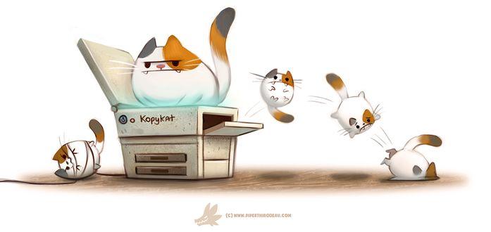 Фото Кот сидит на копирке и от него летят котята копии его (kopycat), by Cryptid-Creations