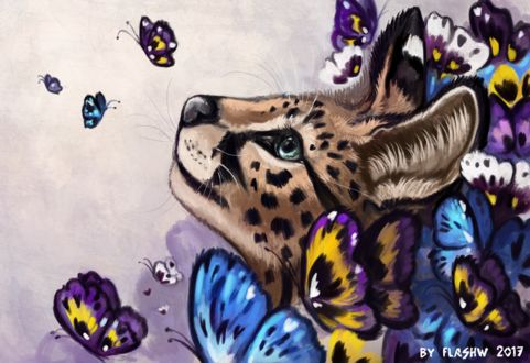 Фото Сервал среди бабочек, by FlashW