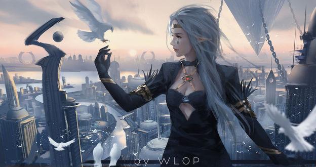 Фото Девушка - эльфийка с голубем над рукой стоит на фоне города, by wlop