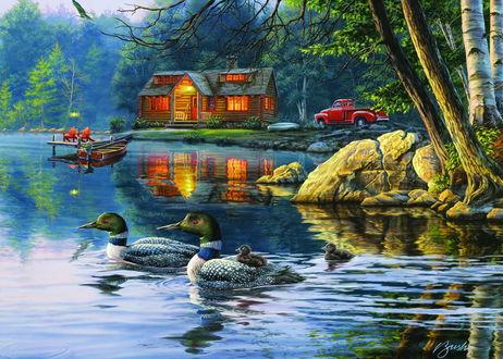 Фото Домик в живописном уголке природы рядом с озером, в котором плавают утки, художник Darrell Bush / Даррелл Буш