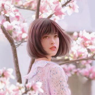 Фото Девушка около цветущей сакуры, by myjerart