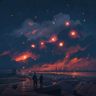 Фото Девушка и парень держатся за руки, стоя на крыше дома во время заката, by RHADS