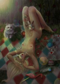 Фото Обнаженная Алиса с кроликом лежит на покрывале, где сидит кот, версия Алисы в стране чудес, by Tati Moons