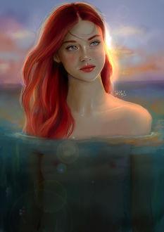 Фото Девушка с яркими волосами стоит в воде, by Tati Moons (© zmeiy), добавлено: 13.08.2017 12:42