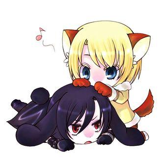 Фото Shiki / Шики и Chibi Rin / Рин Чиби из аниме Togainu no Chi / Кровь окаянного пса