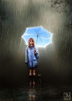 Фото Девочка с голубым зонтом и кошкой рядом стоят под дождем, by jerry8448 (© zmeiy), добавлено: 13.08.2017 13:16