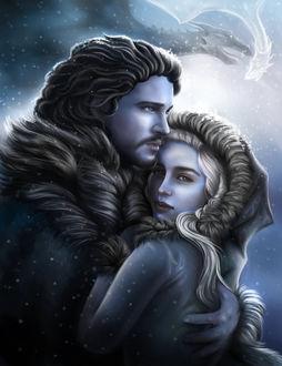 Фото Daenerys Targaryen / Дейнерис Таргариен и Jon Snow / Джон Сноу из сериала Game Of Trones / Игра Престолов, by crybaby-1990