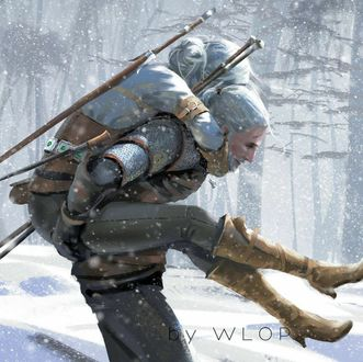 Фото Cirilla / Цирилла и Geralt of Rivia / Геральт из Ривии из игры The Witcher 3 / Ведьмак 3, by Wlop