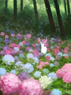 Фото Силуэт оленя в цветах гортензий