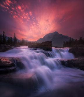 Фото Athabasca / Атабаска водопад, Jasper National Park / Национальный парк Джаспер во время заката, фотограф Patrick Marson Ong