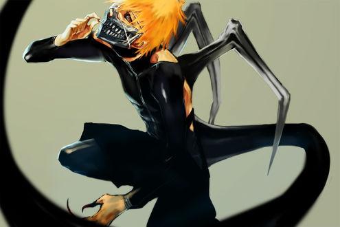 Фото Ичиго Куросаки / Ichigo Kurosaki в стиле Tokyo Ghoul из аниме Блич / Bleach, art by Hatabolic