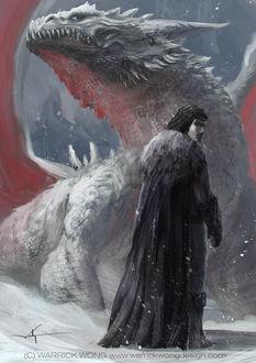 Фото Jon Snow / Джон Сноу и дракон из сериала Game Of Trones / Игра Престолов, by waLek05