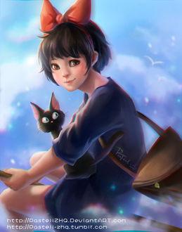 Фото Кики / Kiki и Джи-Джи / Jiji из аниме Kikis delivery service / Ведьмина служба доставки, by pastellZHQ