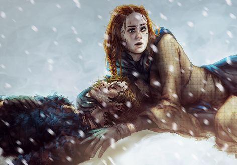 Фото Sansa Stark / Санса Старк и Theon Greyjoy / Теон Грейджой из сериала Game Of Trones / Игра Престолов, by Allegro97